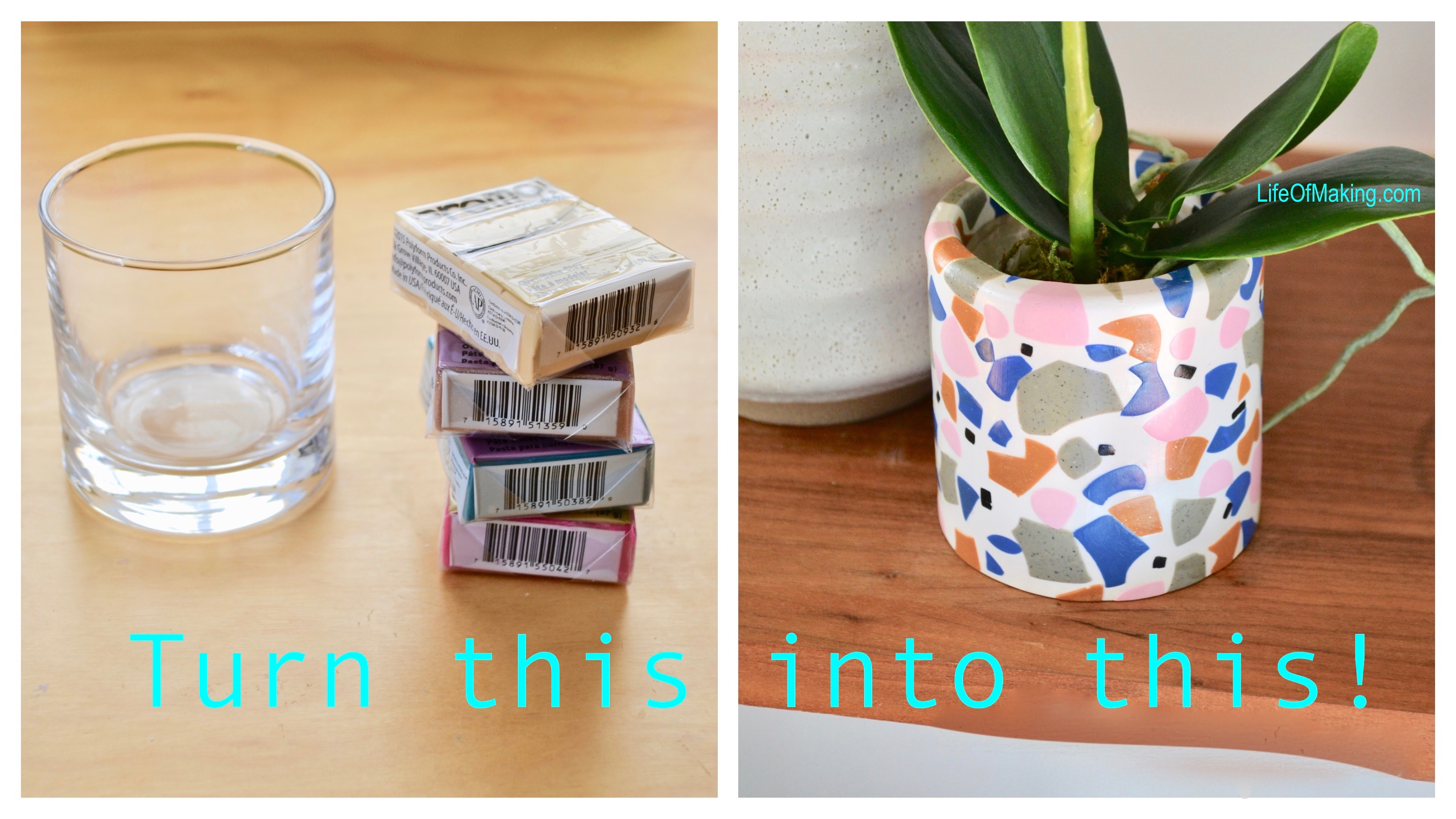 Make DIY Terrazzo Style Planter from Polymer clay